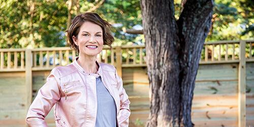 Marcey Portrait in Pink Jacket Outside